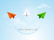 Celebración india del día de la república con el avión de papel y Ashoka Whee Foto de archivo libre de regalías