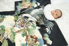 Celebración japonesa de Miyamairi para el bebé Imágenes de archivo libres de regalías