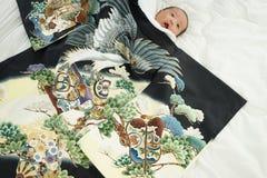 Celebración japonesa de Miyamairi para el bebé Fotografía de archivo