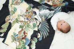 Celebración japonesa de Miyamairi para el bebé Fotografía de archivo libre de regalías