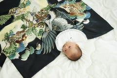 Celebración japonesa de Miyamairi para el bebé Imagen de archivo libre de regalías