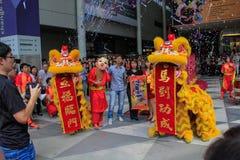 Celebración lunar de la danza del león del Año Nuevo Imagen de archivo