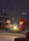 Celebración moderna de la forma del corazón del apartamento de los amantes de los pares de Valentine Day Gift Card Holiday Imagen de archivo libre de regalías