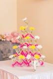 celebración Pirámide de los vidrios del champán Fotografía de archivo