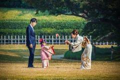 celebración Shichi-ir-san en Korakuen en Okayama Imagenes de archivo
