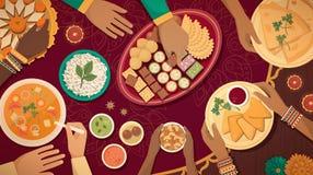 Celebración tradicional de Diwali en casa con la comida