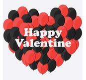 Celebración Valentine Day feliz - 14 de febrero - corazón del amor - impulso rojo y negro ilustración del vector