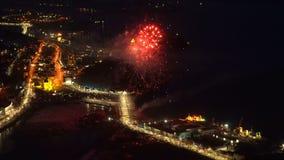 Celebración Victory Day de los fuegos artificiales en el gran guerra 9 de mayo patriótico almacen de metraje de vídeo