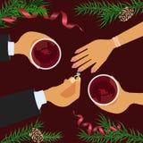 Celebración y desposorio de la Navidad stock de ilustración