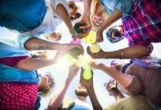 Celebración Champagne Looking Down Friends Concept Foto de archivo