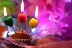 Celebración de la vela de la torta Imágenes de archivo libres de regalías