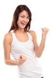Celebración extática feliz de la mujer del éxito que gana siendo un ganador Foto de archivo libre de regalías