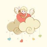 Celebración feliz del día de tarjeta del día de San Valentín con el cupido lindo Fotos de archivo