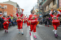Celebraciones chinas del Año Nuevo en Usera Madrid, España Imagenes de archivo