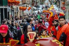 Celebraciones chinas del Año Nuevo en Usera Madrid, España Fotografía de archivo
