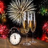Celebraciones del Año Nuevo con los fuegos artificiales Imagenes de archivo