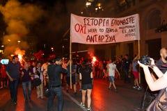 Celebraciones en Grecia después de los resultados del referéndum Foto de archivo libre de regalías