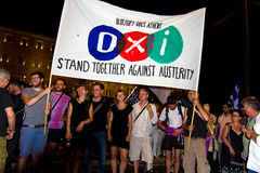 Celebraciones en Grecia después de los resultados del referéndum Imagen de archivo