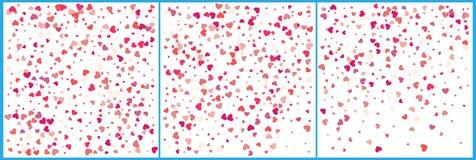 Celebraciones rojas del confeti de los corazones Diseño moderno festivo simple Vector del día de fiesta Fije 3 en 1 stock de ilustración