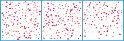 Celebraciones rojas del confeti de los corazones Diseño moderno festivo simple Vector del día de fiesta Fije 3 en 1