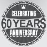 Celebrando 60 años de etiqueta retra del aniversario, illustratio del vector Foto de archivo