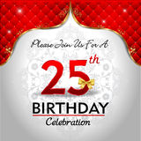 Celebrando 25 anni di compleanno, fondo reale rosso dorato illustrazione di stock