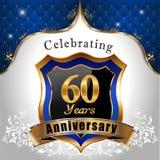 Celebrando 60 años de aniversario, escudo de oro Foto de archivo libre de regalías