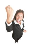 Celebrando donna di affari isolata Immagine Stock