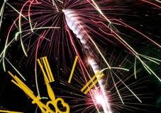Celebrando el Año Nuevo (fuegos artificiales) Imagenes de archivo