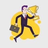 Celebrando il vincitore della tenuta dell'uomo d'affari foggi a coppa il trofeo ed il funzionamento Immagini Stock