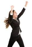 Celebrando a la mujer de negocios del éxito aislada Fotografía de archivo libre de regalías