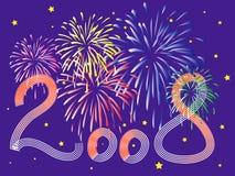 celebração do ano 2008 novo com fierworks Foto de Stock Royalty Free
