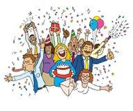 Celebração do escritório dos desenhos animados Fotos de Stock Royalty Free
