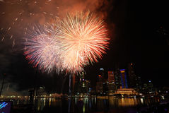 Celebração do festival dos fogos-de-artifício de Singapore Imagem de Stock Royalty Free