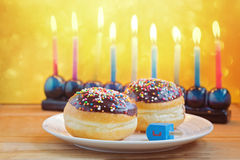 Celebração judaica do Hanukkah do feriado Foto de Stock
