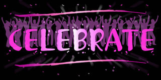 Celebrate. An image showing people dancing and the word celebrate in front with lights and shadows in the background