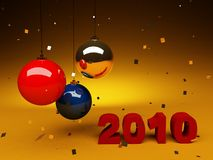 Celebrate 2010. New year numbers and christmas hangings Royalty Free Stock Image