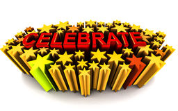 Celebrate. Word between 3d stars  on white background, text in red and stars in yellow Stock Photos