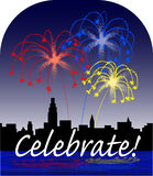 Celebrate. Illustration of fireworks with a city skyline and water reflection Royalty Free Stock Image