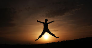 Celebrate. Woman celebrate her success at sunset Royalty Free Stock Photos
