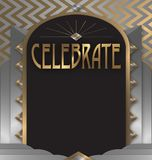 Celebrate Art Deco Flyer Poster Art. Anniversary Party Flyer Art Deco Gold Silver Elegant Celebrate Celebration diamond bash poster vector Bash Fun 50th 25th Stock Photos