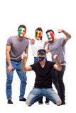 Celebrate atmosphere. Group of football fans support their national team: Belgium, Italy, Republic of Ireland, Sweden Royalty Free Stock Images