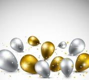 Celebrate background with balloons. Celebration background with golden and silver balloons. Vector illustration Stock Photos