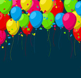 Celebrate background with flat balloons Royalty Free Stock Image