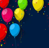 Celebrate background with flat balloons. Celebration background with flat balloons and confetti. Vector illustration Royalty Free Stock Photo