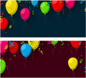 Celebrate background with flat balloons. Celebration background with flat balloons and confetti. Vector illustration. r Royalty Free Stock Photography