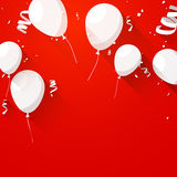 Celebrate background with flat balloons. Celebration red background with flat balloons and confetti. Vector illustration Stock Photo