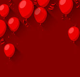 Celebrate background with flat balloons. Celebration red background with flat balloons and confetti. Vector illustration Stock Image