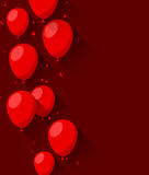 Celebrate background with flat balloons. Celebration red background with flat balloons and confetti. Vector illustration Stock Images