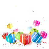 Celebrate background. With gift boxes and confetti Royalty Free Stock Photography